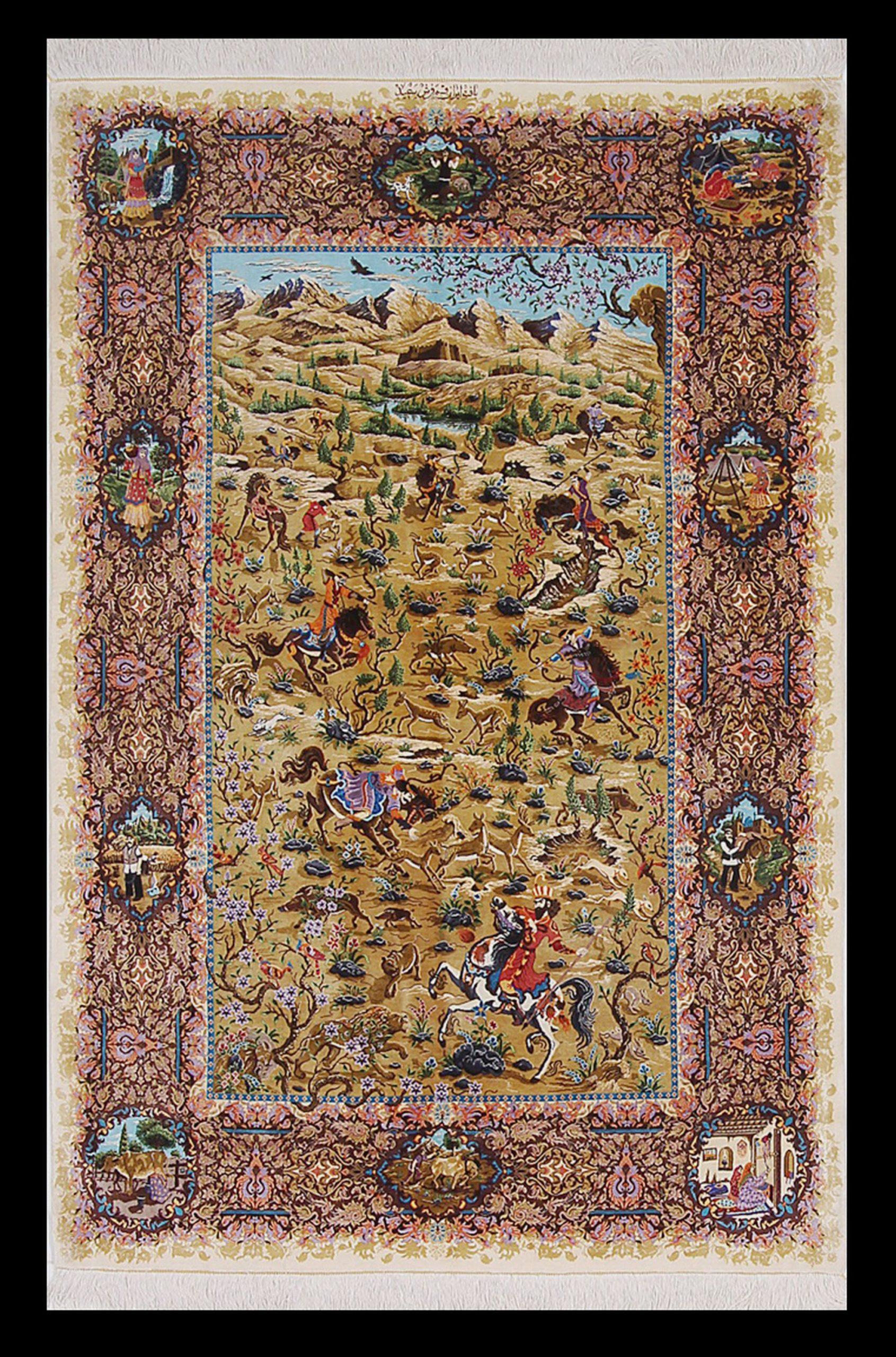 36137 PERSIAN QUM SILK SAEED 3.6 x 5.3